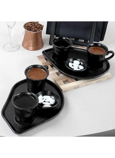 Keramika Mat Siyah Moka Kahve Sunum Seti 8 Parça 2 Kişilik Renkli